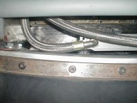 Top of the 19 row oil cooler showing where the SS hoses start.